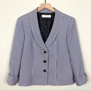 Tahari ASL | Tweed Blazer Jacket Blue Black White